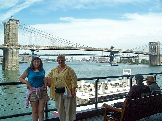 View of the Brooklyn Bridge from South Street Seaport